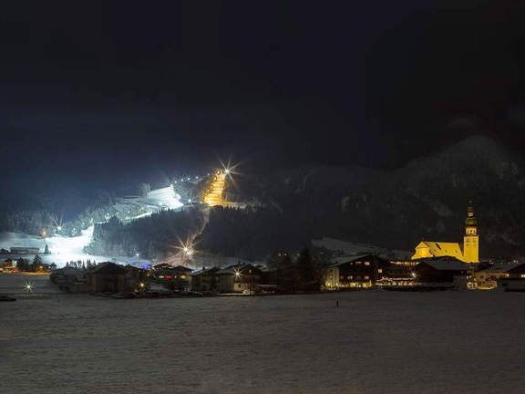 Night skiing in Reith in Alpbachtal Valley